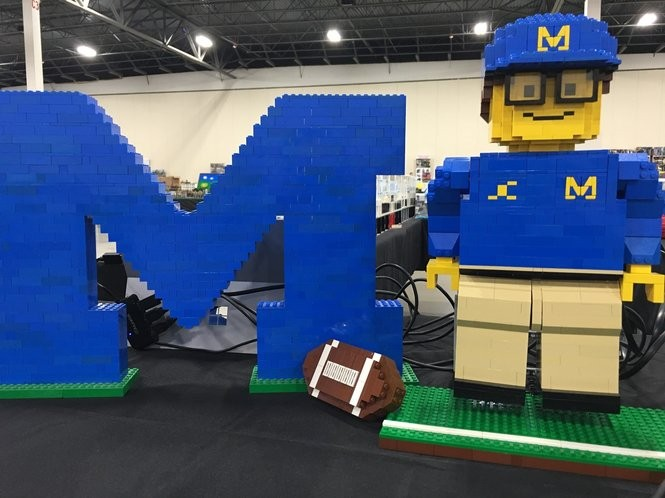 Jim Harbaugh robot made out of Lego bricks built by engineer