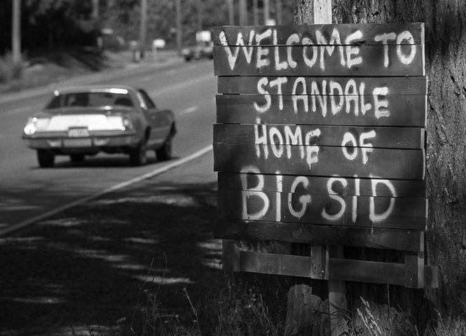 """A sign welcoming people to Standale, """"Home of Big Sid."""" MLive file art."""