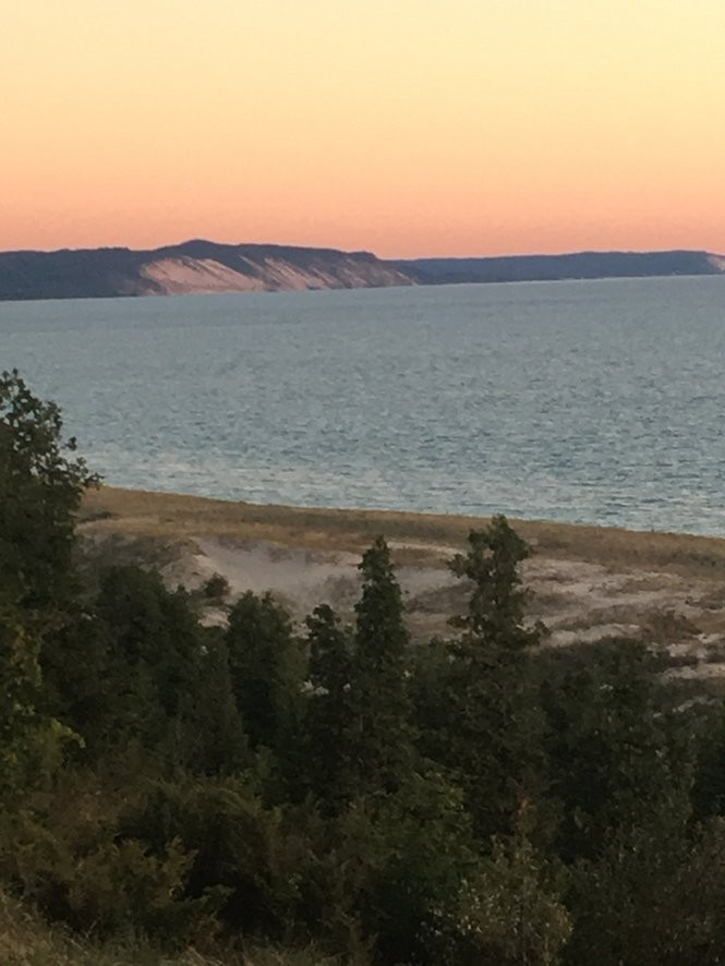 Sunset along the Elberta Bluffs, where the Hartzell ran aground and wrecked.