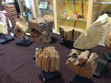 Driftwood displays in a booth at the 23rd Annual Davison Spring Crafts Show.
