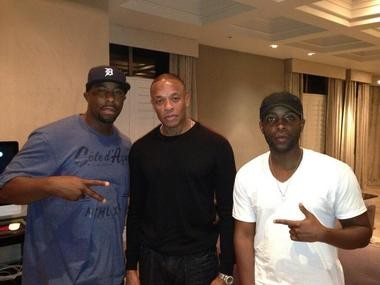 Flint native and former Michigan State University basketball star Mateen Cleaves, six-time Grammy winning producer Dr. Dre, and Flint rap artist Jon Connor pose for a photo posted on Cleaves' Twitter account on July 18, 2013.