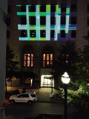 Part of the Flint Public Art Project's exhibit at art prize is a digital projection lighting up the side of an unused building in downtown Grand Rapids.