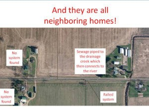 In Eaton County, health officials discovered that none of the four houses shown in this aerial photo had proper sewage disposal systems. Two of the houses had no septic system at all, one had an illegal system and one was discharging raw sewage to an agricultural drain that fed into a creek. (courtesy image/Barry-Eaton District Health Department)