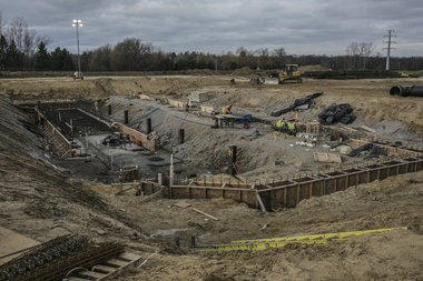 Construction crews work on the Genesee County water treatment plant on Friday, Dec. 18, 2015 in Oregon Township, Mich. When completed, the plant will receive water directly from Lake Huron via the Karegnondi Water Authority pipeline. Sean Proctor | MLive.com