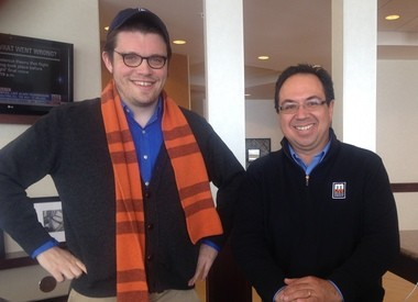 Fritz Klug and John Gonzalez of MLive work from the lobby of the Hampton Inn & Suites in Marquette while on the search for Michigan's Best Doughnut 2014.
