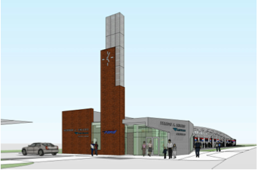Artist's rendering of Grand Rapids' new, $5.1 million Amtrak station. Work began this week on the station after more than a year of delays.