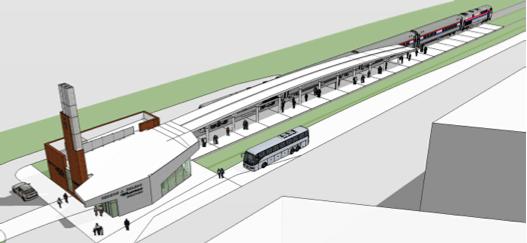 Artist's rendering of Grand Rapids' new, $5.1 million Amtrak station.