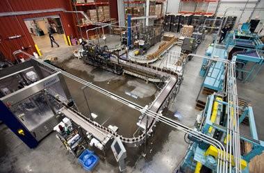 Bottling line inside Founders Brewing Co.