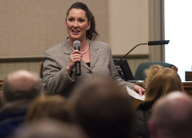 Rep. Lisa P. Lyons holds a town hall meeting about hydraulic fracturing Monday, March 18, 2013 at the Ada Township Hall in Ada Mich.