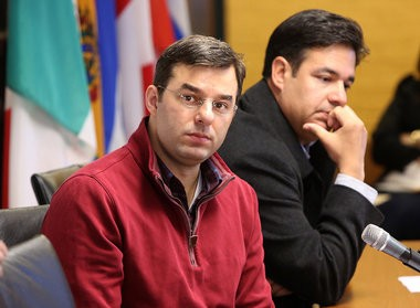 U.S. Rep. Justin Amash, left, during a Saturday, April 13, Grand Rapids town hall on immigration with fellow Rep. Raul Labrador of Idaho.