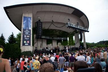David Byrne and St. Vincent perform at Meijer Gardens on Sunday, July 7, 2013.