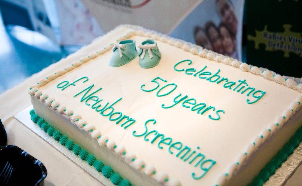A cake celebrating 50 years of newborn screening at Helen DeVos Children's Hospital on Monday, September 16, 2013. The Association of Public Health Laboratories and the Center for Disease Control (CDC) are sponsoring a campaign to celebrate 50 years of saving and improving babiesâ lives through newborn screening.