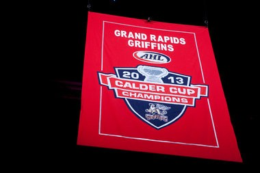 The Grand Rapids Griffins, a Detroit Red Wings affiliate, raised their first AHL Calder Cup title banner before this season's home opener on Oct. 18, 2013. (Lauren Petracca | MLive.com)