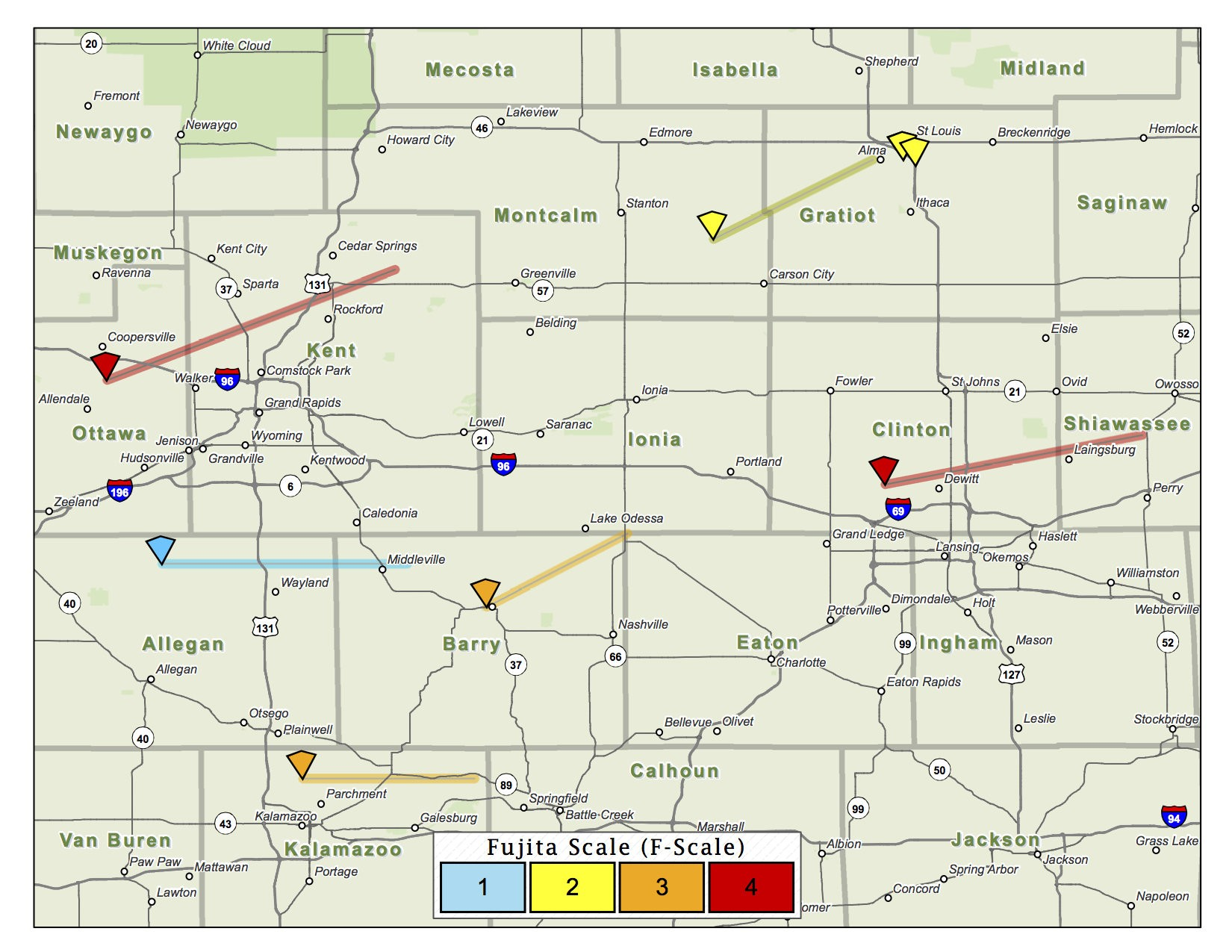 Track Michigan\'s 12 tornadoes from the 1965 Palm Sunday outbreak ...