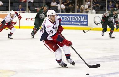 Jan Mursak skates against Houston on Saturday.
