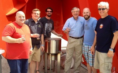 Mayor George Heartwell visits with one of the 50 home brewing teams at the Big Brew