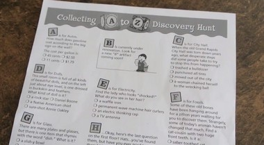 """A screenshot from the GeLo promotional video shows the traditional way the """"A to Z"""" scavenger hunt has been held on paper"""