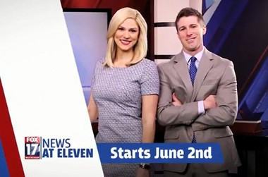 WXMI-TV FOX 17 News is adding an 11 p.m. news broadcast, debuting on June 2, 2014. FOX 17's Ann Marie LaFlamme and Mitch Fick will anchor the program weekdays.