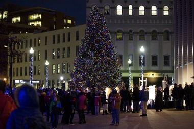 Last year, a 42-foot blue spruce Christmas tree made its appearance in Rosa Parks Circle on Dec. 6. The arrival of Grand Rapids Art Museum's Christmas Tree won't be until Nov. 20. But two Grand Rapids-area radio stations have been playing Christmas music for the 2014 holiday season. (Lauren Petracca   MLive.com)