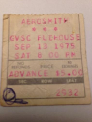 A ticket stub from Aerosmith's 1975 concert at Grand Valley State College.