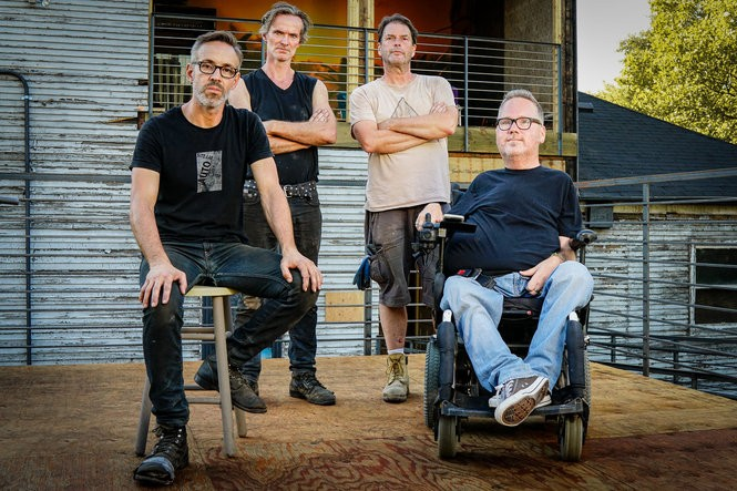 From left to right: Paul Amenta, artist; Alois Kronschlaeger, lead artist; Tom Clinton, SiTE:LAB Exhibitions Coordinator; Chris Smit, DisArt Executive Director