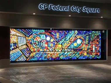 The Glidden Parker Mural at CP Federal Credit Union Square in Jackson, MI was made possible thanks to NEA support.