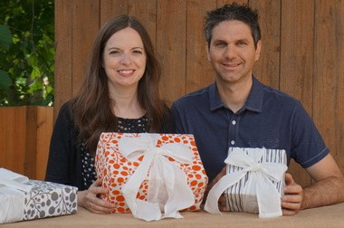 Grand Rapids residents Amy and David Wilstermann have been working to bring their Enfold reusable fabric gift wrap to market since 2012.