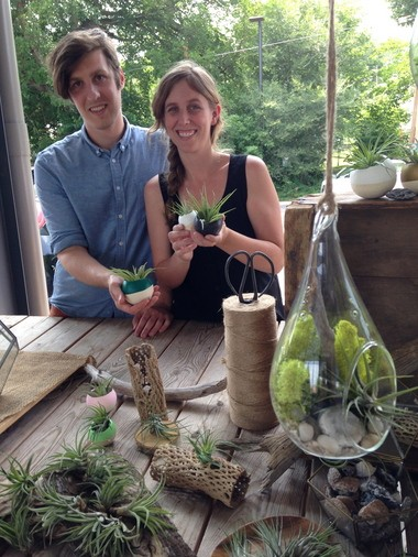 Sean Maginity and Marianne Gardner will be selling their handmade terrariums and air plant pods in their Bird and Feather booth on September 28 at the Fulton Street Artisans Market, 1147 E. Fulton Street in Grand Rapids. This will be the last day of season for the outdoor market.