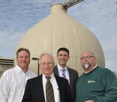 From left, Grandville City Manager Ken Krombeen, Moore & Bruggink engineers John Racek and Brian Hannon, and Grandville Clean Water Plant Superintendent Todd Wibright grace the cover of the January/February 2013 issue of the Michigan Municipal League's magazine.
