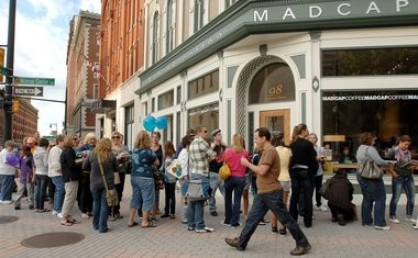 A long line of fans wrap around Ottawa Avenue as they wait to meet Food Network reality star Ace of Cakes' Duff Goldman at the downtown Schuler Bookstore in September 2010.