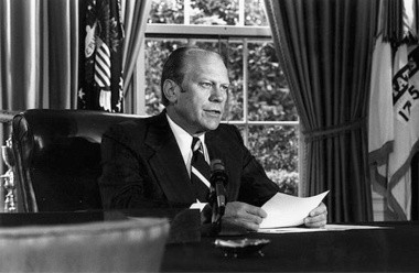 Gerald R. Ford announcing the pardon of Richard M Nixon from the Oval Office Sept. 8, 1974. The pardon has led one historian to deem Ford one of the greatest presidents.