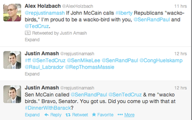"""Amash tweeted and retweeted several responses to the """"wacko bird"""" accusation"""