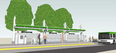 Rendering of a bus rapid transit Silver Line station.