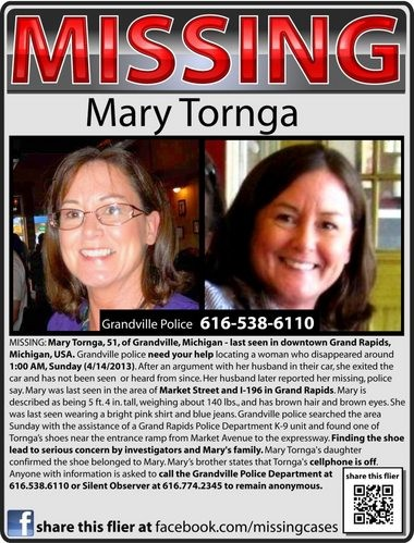 Family are sharing this poster in hopes of finding Mary Tornga.