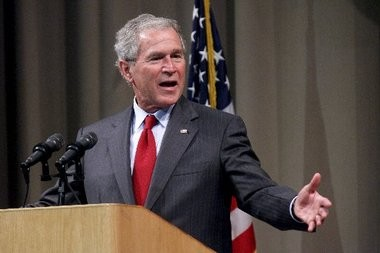 Former President George W. Bush was the keynote speaker Wednesday at the second annual West Michigan Aviation Academy's Leaders of Tomorrow Gala. He spoke before a sold out crowd of 900.