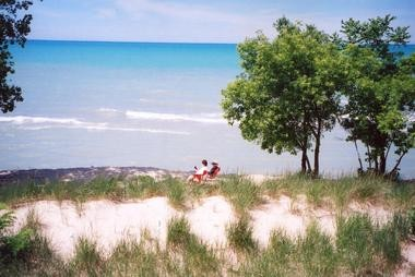 "An ""oily substance"" recently appeared along the southern shore of Lake Michigan, and its source remains unknown."