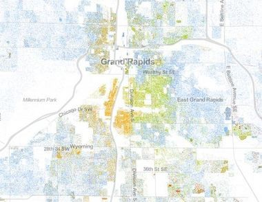 The Racial Dot Map View Population By Color In Grand Rapids And - Us-map-by-ethnicity