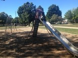 This slide and swing set at Fuller Park appear to be older, but functional.
