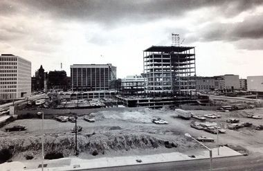 This is what Calder Plaza looked like in 1967 when Nancy Mulnix began lobbying the National Endowment for the Arts to fund a civic sculpture in downtown Grand Rapids. View is looking south from Michigan Street NW along Ottawa Ave.