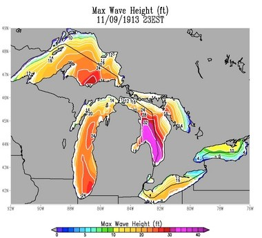 Computer-simulated wave heights on Nov. 9, 1913, across the Great Lakes.