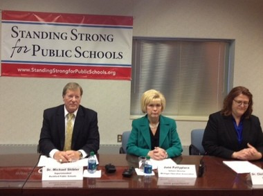 A press conference was held Monday, Nov. 18, to unveil a new website for the Michigan Public Schools Partnership. From L to R: Rockford Superintendent Mike Shibler, June Pettyplace, co-founder of the MPSP, and Christine Beardsley, co-founder of MPSP and superintendent of the Eaton Regional Education Service Agency.