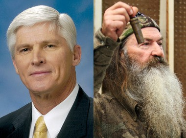 """Dave Agema, left, stands with Phil Robertson on the """"Duck Dynasty"""" star's comments about gays."""