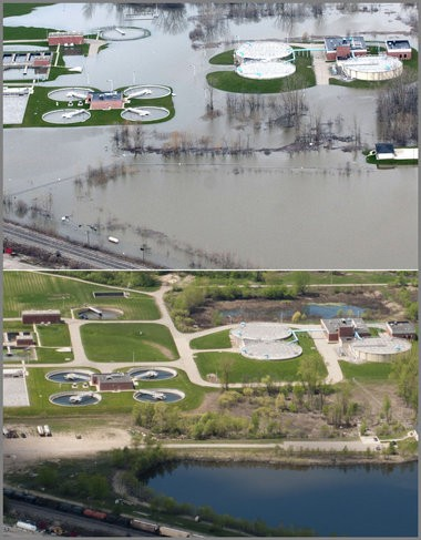 Top photo shows Grand River flood water surrounding the Wyoming, Mich. water treatment plant Saturday, April 20, 2013. Bottom photo taken Wednesday, May 8, 2013.