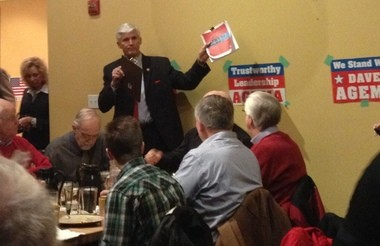 Republican National Committeeman Dave Agema talks about party principles Monday, Jan. 27, during a fundraiser at Sundance Grill & Bar in Grand Rapids.