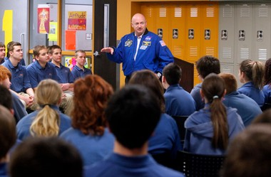 2012 file photo of retired astronaut Mark Kelly speaking to students at West Michigan Aviation Academy. Gulfstream Aerospace Academy Friday, Feb. 7, announced it will award a $60,000 scholarship to a graduate of the charter high school through 2017.