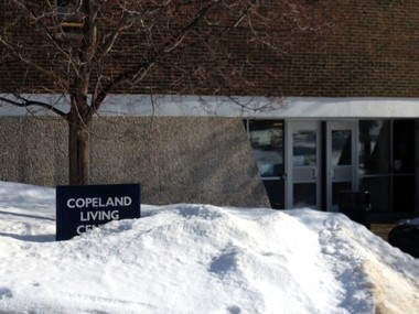 Copeland Living Center at Grand Valley State University. University administrators are investigating a racial slur written on the door of a black student's dorm room at Copeland.