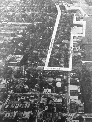 An aerial photo ran in the Grand Rapids Press on July 29, 1958 shows the West Side area between Scribner Ave., Webster St., Front Ave. and 3rd St. NW that was redeveloped into an industrial park during the 1960s urban renewal years.