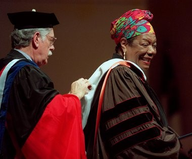 Maya Angelou reacts to her being awarded a honorary degree of Doctor of Letters at Hope College.