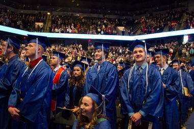 Students at Grand Valley State University's December 2012 commencement ceremony.