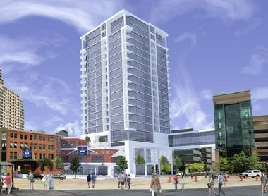 The proposed Venue Towers would be built next to The B.O.B. in Grand Rapids.